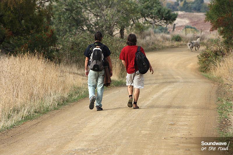 Marcheurs sur une route de campagne