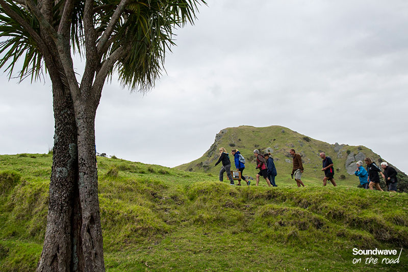 Marcheurs dans un paysage verdoyant