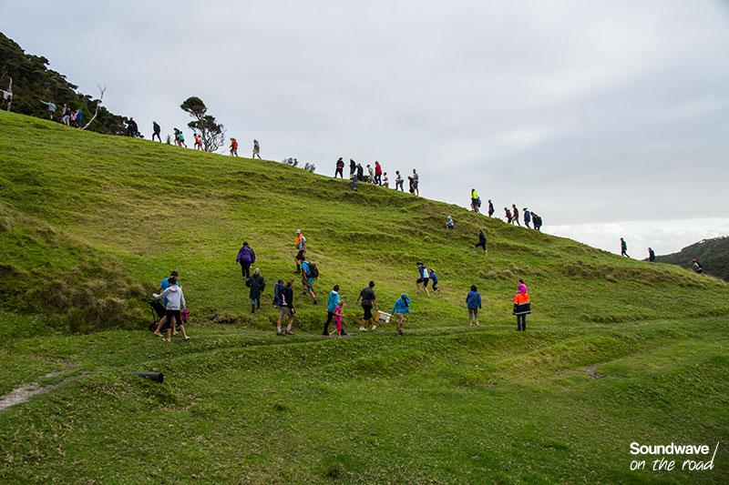 Marcheurs sur une colline verte