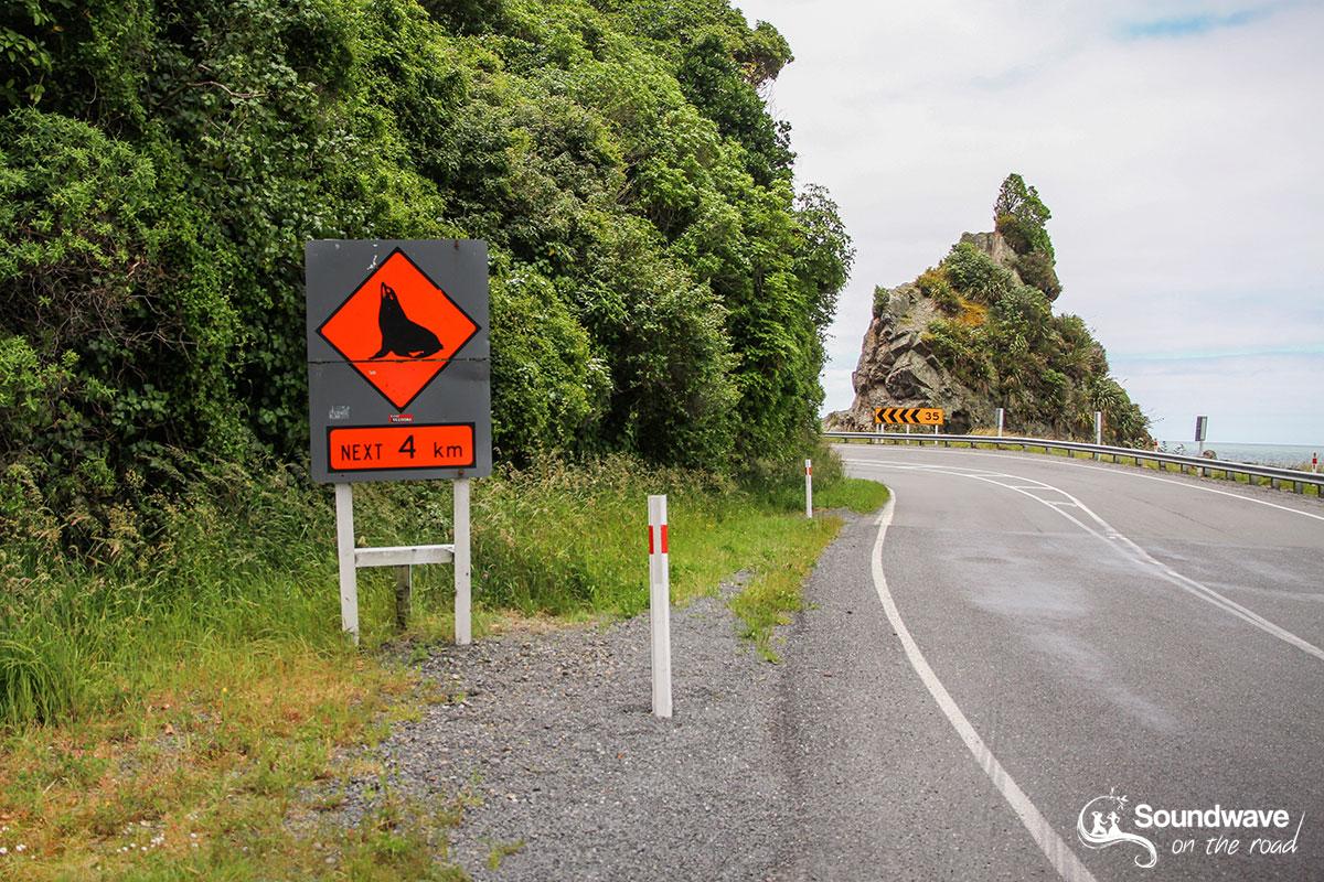 Road sign seals crossing
