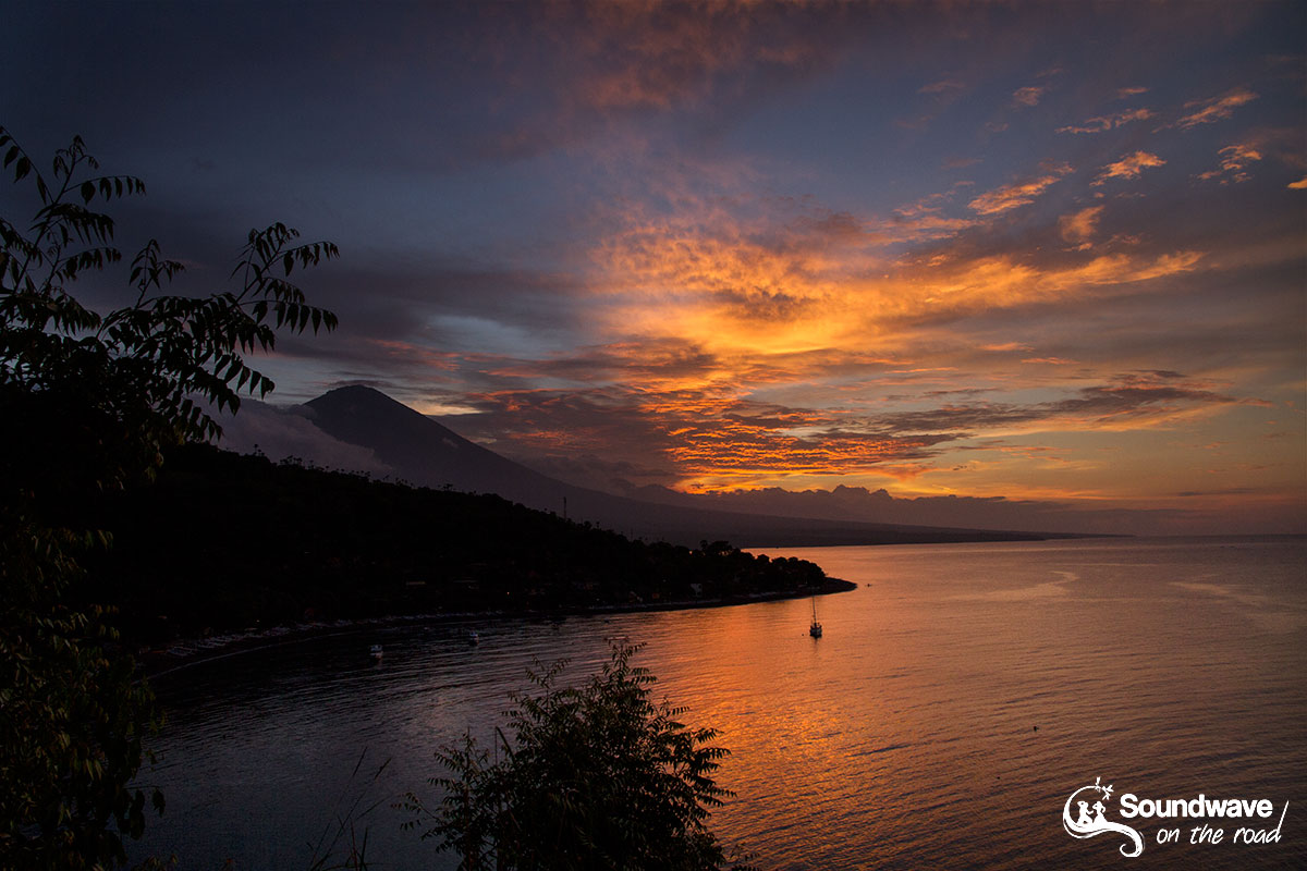 Amazing sunset in Amed, Bali, Indonesia