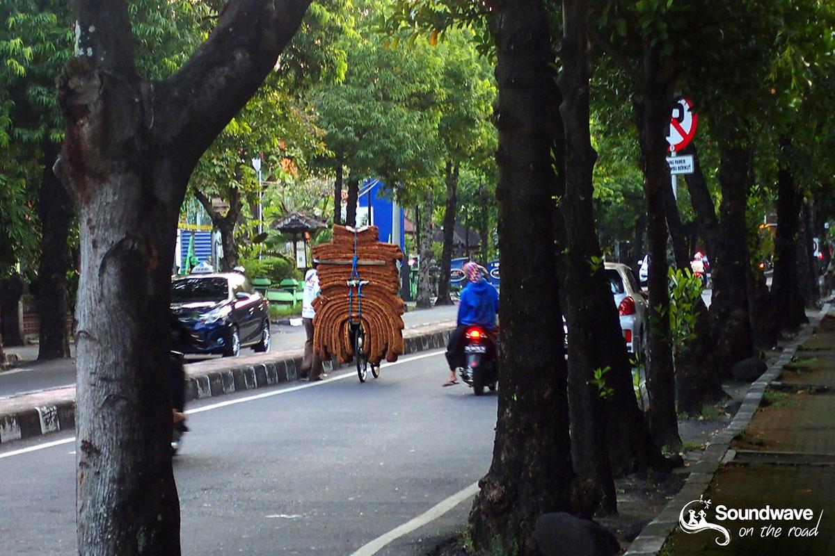 Carpets on a bike in Bali