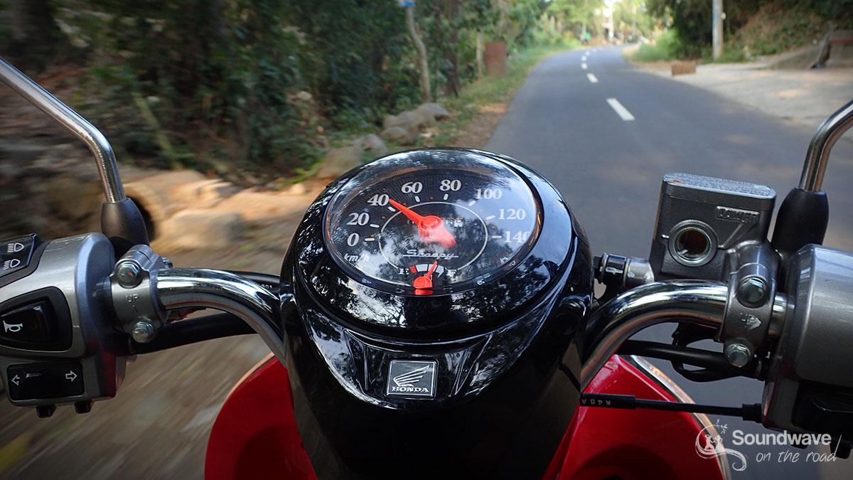 Riding a motorbike in Bali