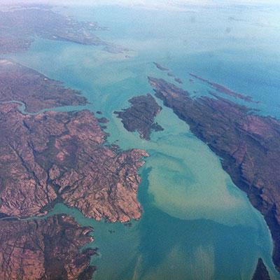 Flight over the northern australian coast