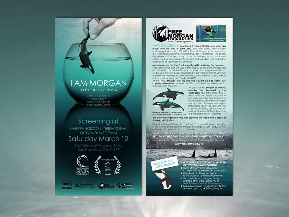 Flyer pour la diffusion du court métrage I AM MORGAN / Rack card design for festival screening of I AM MORGAN