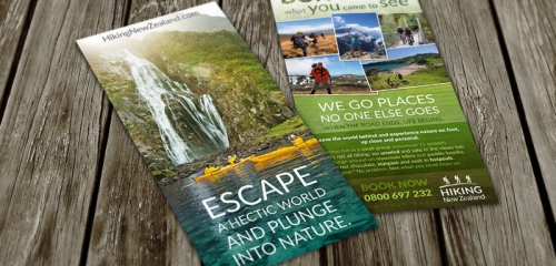 Flyer Pour Une Agence D'excursions En Nouvelle-Zélande / Rack Card Design For Outdoor Safaris