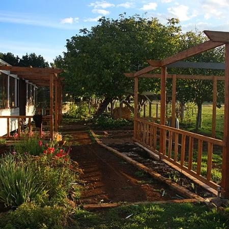 Maison En Bois Blanc, Jardin Et Structures En Bois