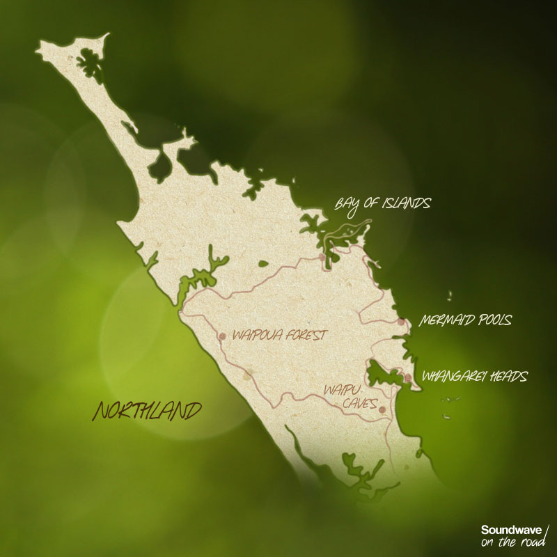 Carte itinéraire dans le Northland en Nouvelle Zélande