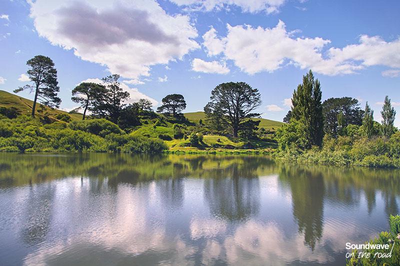 Reflet d'un paysage verdoyant en Nouvelle Zélande