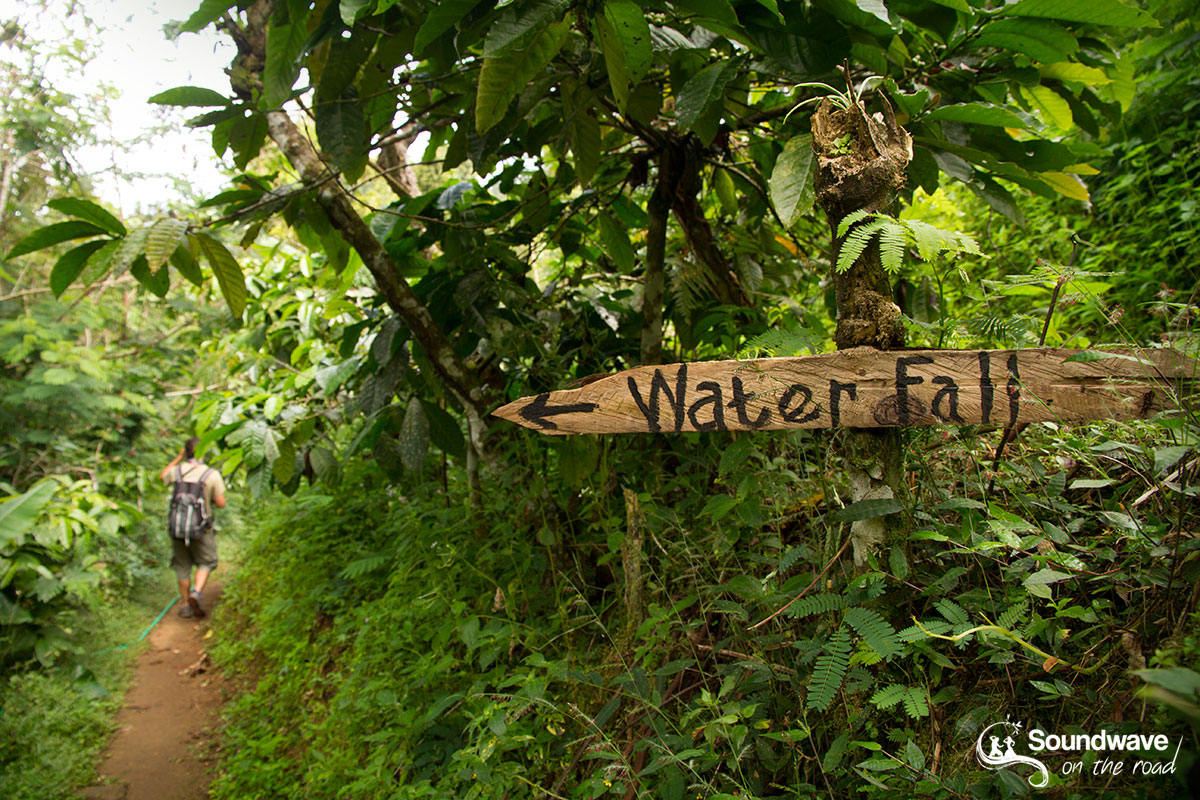 Waterfall track and sign