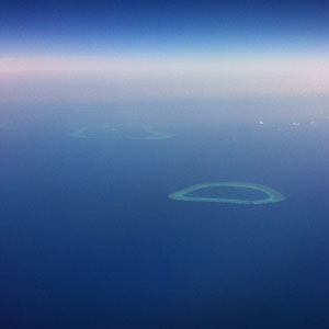 Flight over an atoll, north of Australia