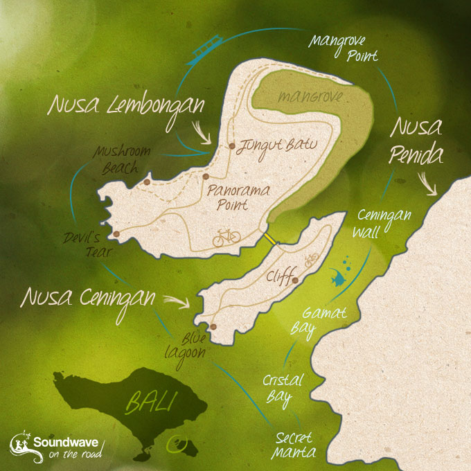 Nusa Lembongan and Nusa Ceningan Map