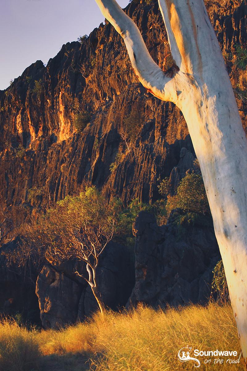 Coucher de soleil sur les falaises de la Windjana Gorge