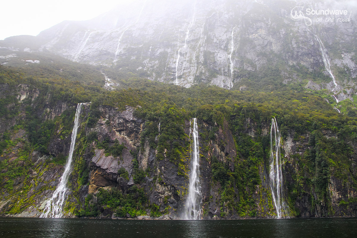 Waterfall wall in Milford Sound
