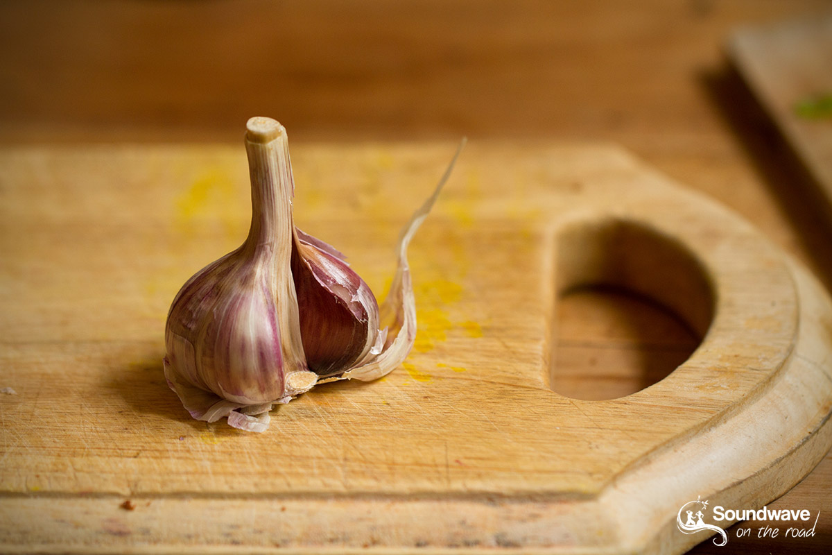 Garlic on a wooden cutting board