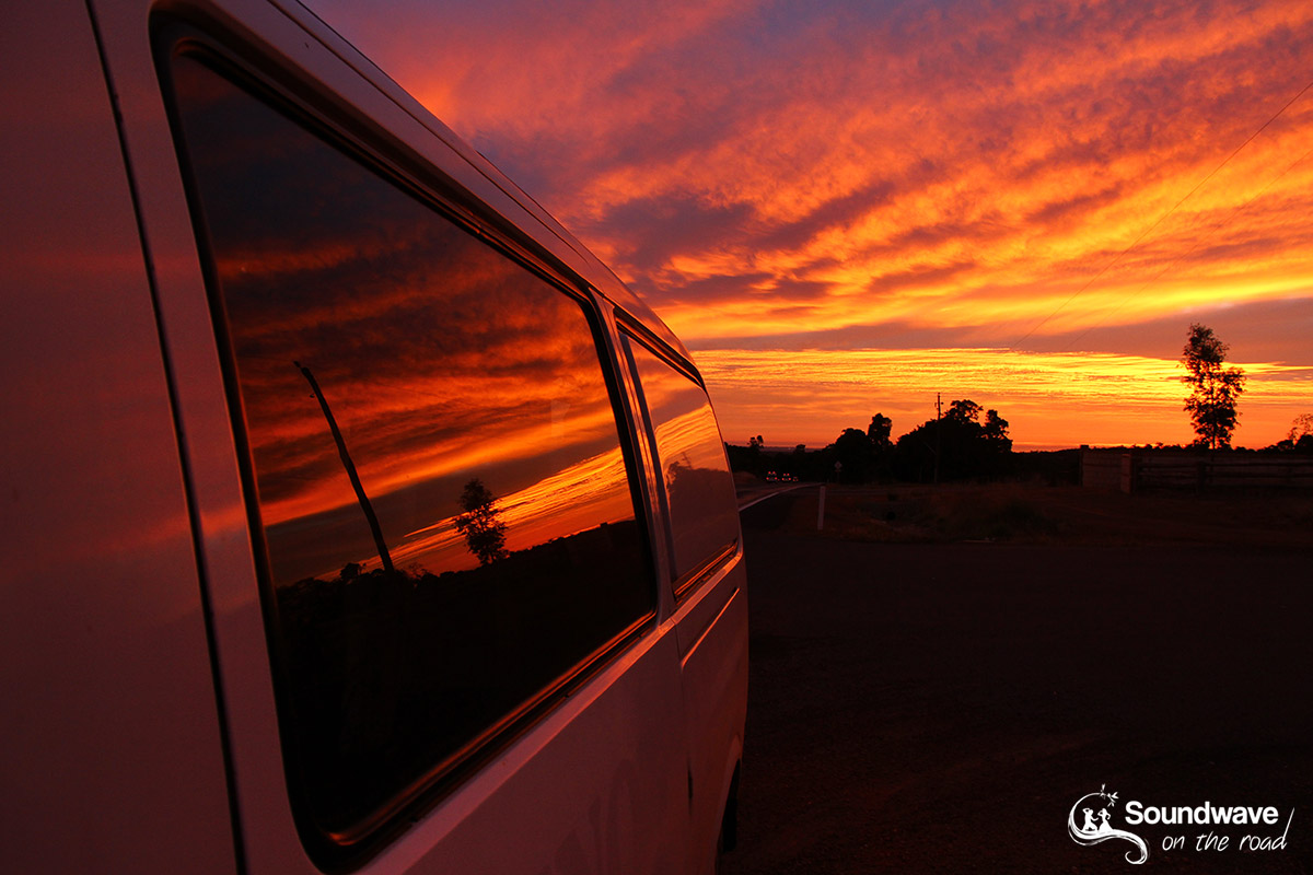 Sunset over campervan in Australia
