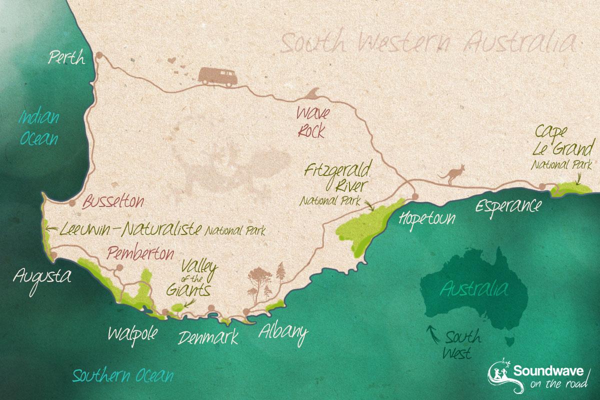 Carte Road trip de Perth à Esperance - Sud Ouest de l'Australie