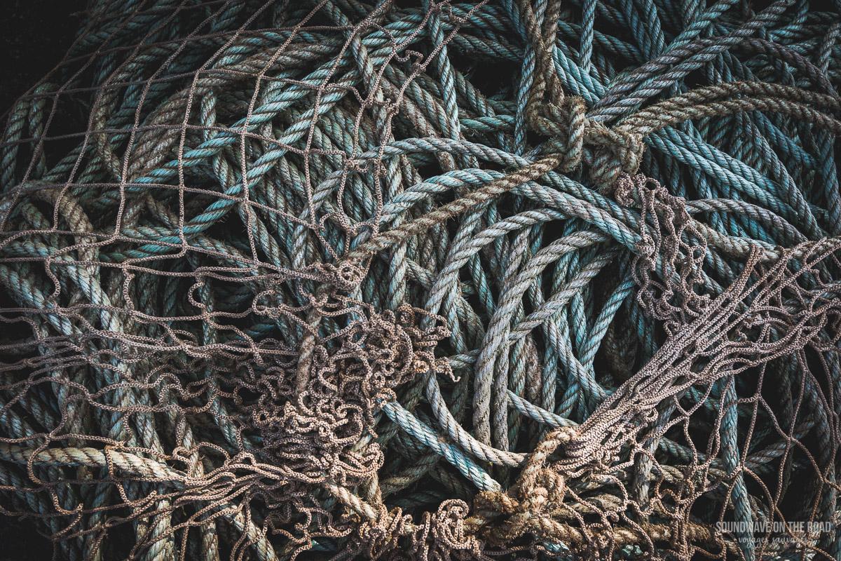 Gros plan sur des filets de pêche