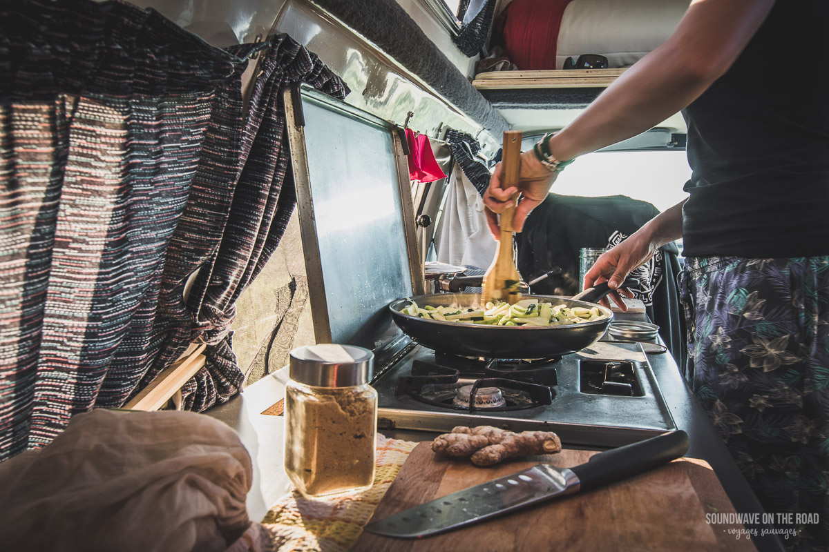 Cooking organic in our campervan