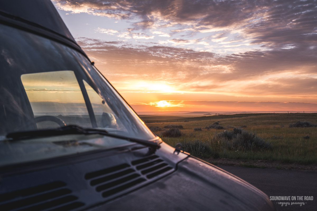 Photo of sunset with campervan